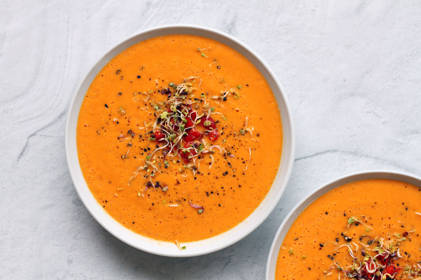 Easy Roasted Red Pepper Soup by Active Vegetarian