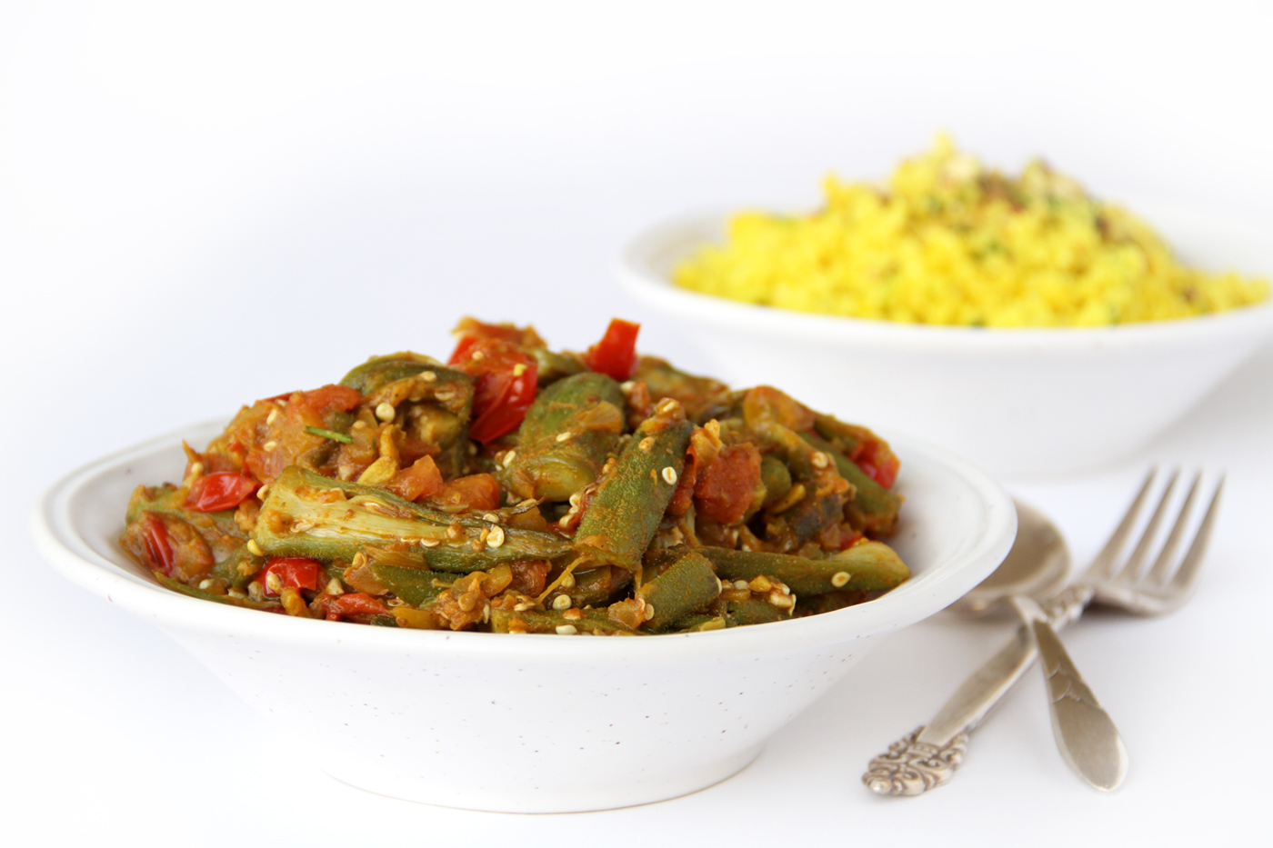 njoy this oil-free vegan okra recipe, that's also called Bhindi Masala, a popular Indian dish made with okra, onion, tomatoes & spices.