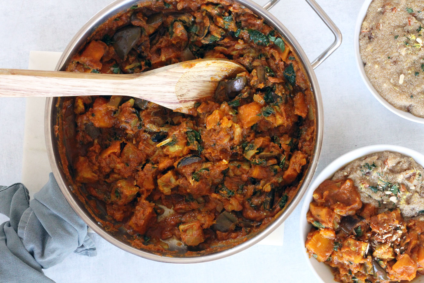 Moroccan spiced vegetable and tempeh stew with lemon made by Active Vegetarian