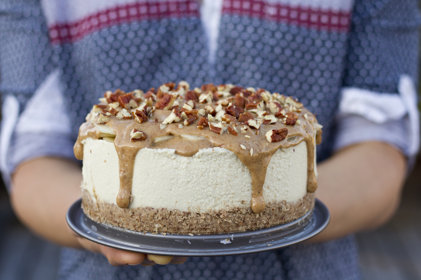 This is a salted caramel apple cheesecake recipe made by Active Vegetarian